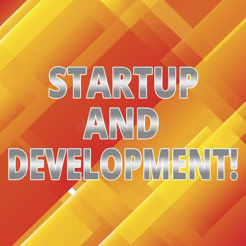 Ord som skriver textstart och utveckling Affärsidé för sökandet för en repeatable och scalable affärsmodell stock illustrationer