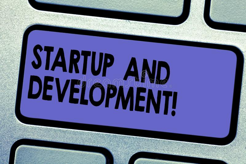 Ord som skriver textstart och utveckling Affärsidé för sökandet för en repeatable och scalable affärsmodell royaltyfri illustrationer