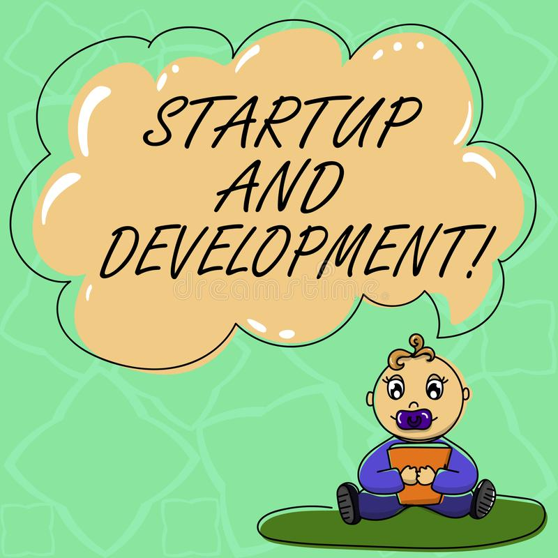 Ord som skriver textstart och utveckling Affärsidé för sökandet för en repeatable och scalable affärsmodell Baby vektor illustrationer