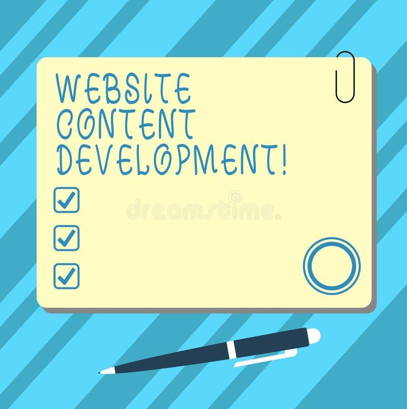 Ord som skriver utveckling för textWebsiteinnehåll Affärsidé för process av att utfärda information som avläsare för att finna an stock illustrationer