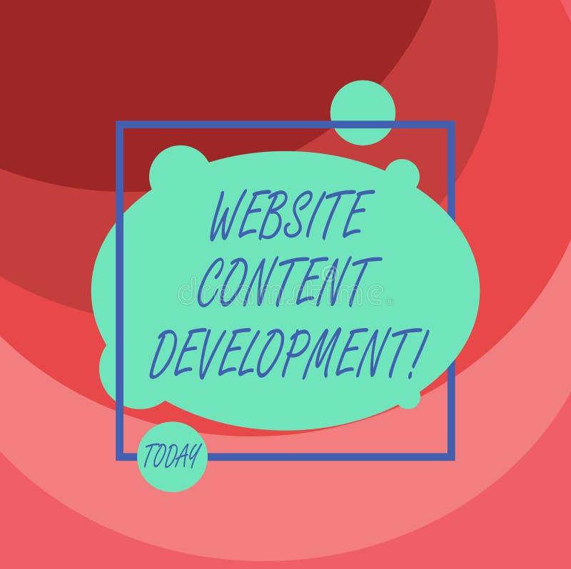 Ord som skriver utveckling för textWebsiteinnehåll Affärsidé för process av att utfärda information som avläsare finner användbar vektor illustrationer