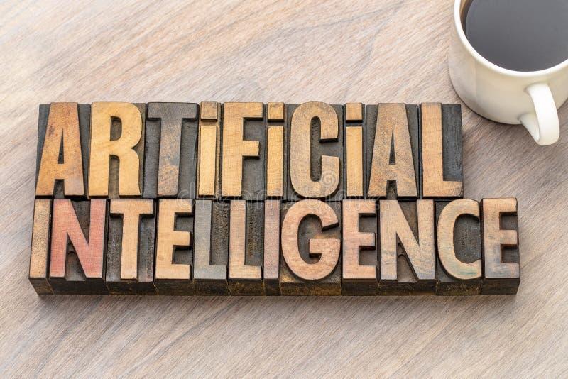 Ordabstrakt begrepp för konstgjord intelligens i wood typ arkivbild