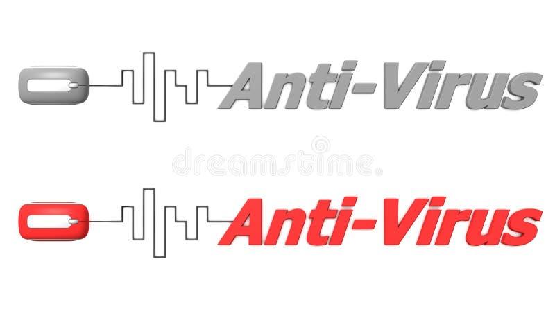 OrdAnti-Virus förbindelse till en mus vektor illustrationer