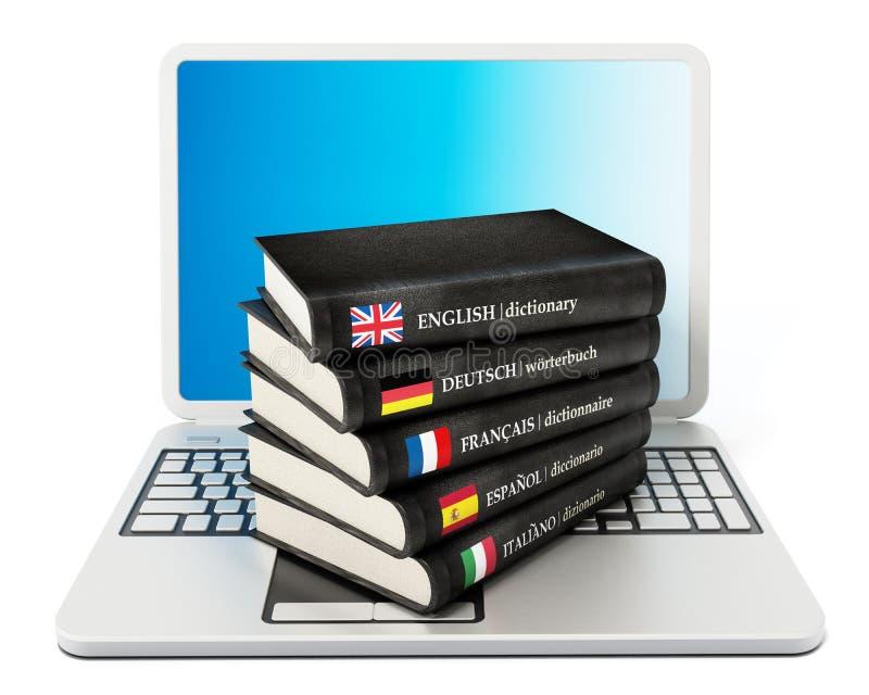 Ordböcker som står på bärbar datordatoren royaltyfri illustrationer