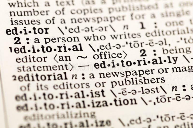 Ordbok för tidning för nyheterna för redaktörkontor redaktörs- arkivbild