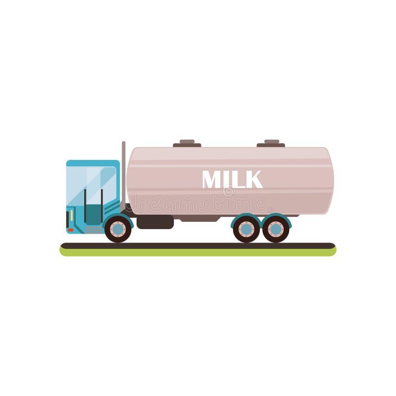 Ordeñe el ejemplo del vector del camión de petrolero en un fondo blanco stock de ilustración