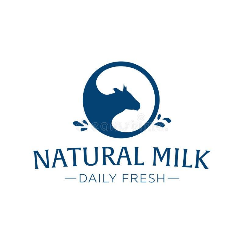 Ordeñe el emblema, las etiquetas, el logotipo y los elementos del diseño Leche fresca y natural Granja de la leche Leche de vaca  libre illustration