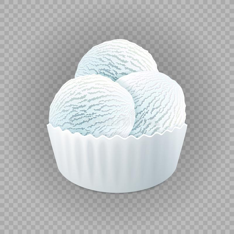 Ordeñe el helado blanco del yogurt congelado o de las bolas de la suavidad tres, vainilla en la taza de papel en blanco aislada e ilustración del vector