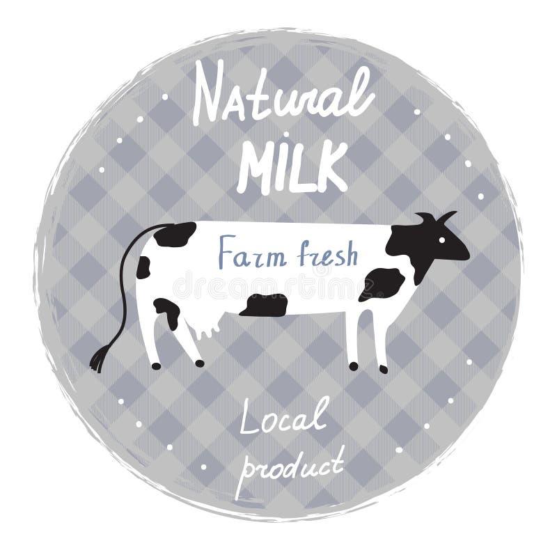 Ordeñe la etiqueta con la vaca y el marco - plantilla para la granja orgánica ilustración del vector