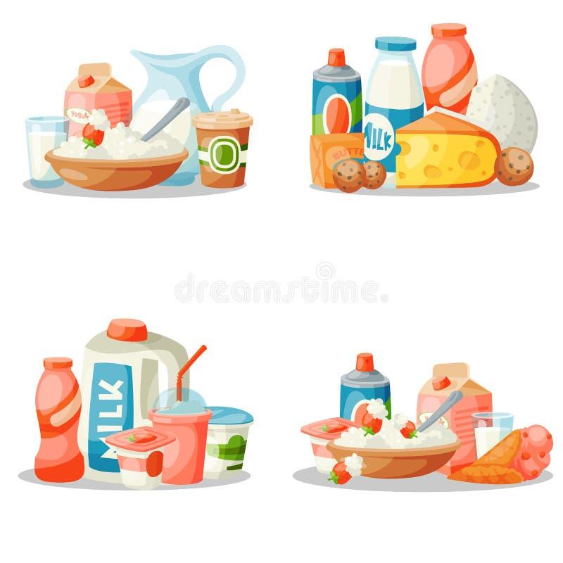Ordeñe la nutrición lechosa del ingrediente de la bebida del estilo del vector de los productos lácteos del desayuno de la comida stock de ilustración