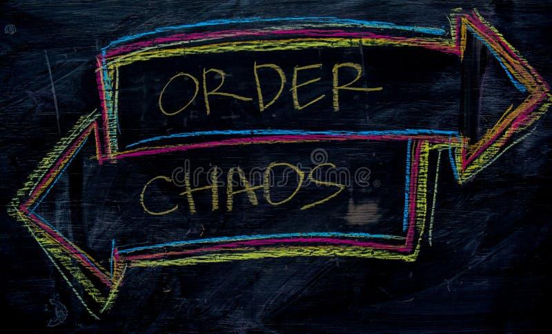 Orde of Chaos met het concept van het kleurenkrijt op het bord wordt geschreven dat royalty-vrije stock foto's