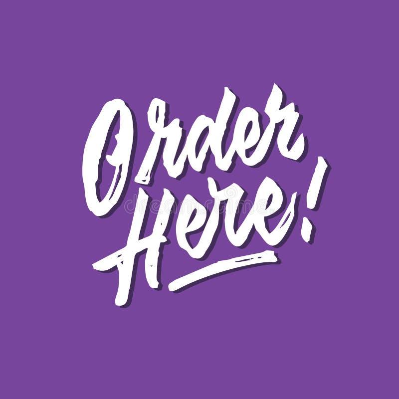 Orde hier ruwe geborstelde hand het van letters voorzien typografie verkoop en marketing signage van de winkelopslag affiche vector illustratie