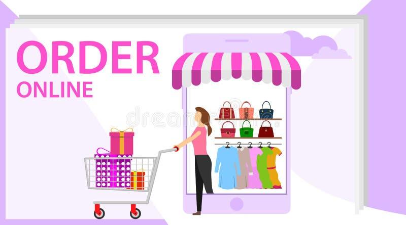 Orde online conceptontwerp Online het winkelen banner, mobiele toepassingmalplaatjes, vlakke ontwerp van de concepten het vectori stock illustratie