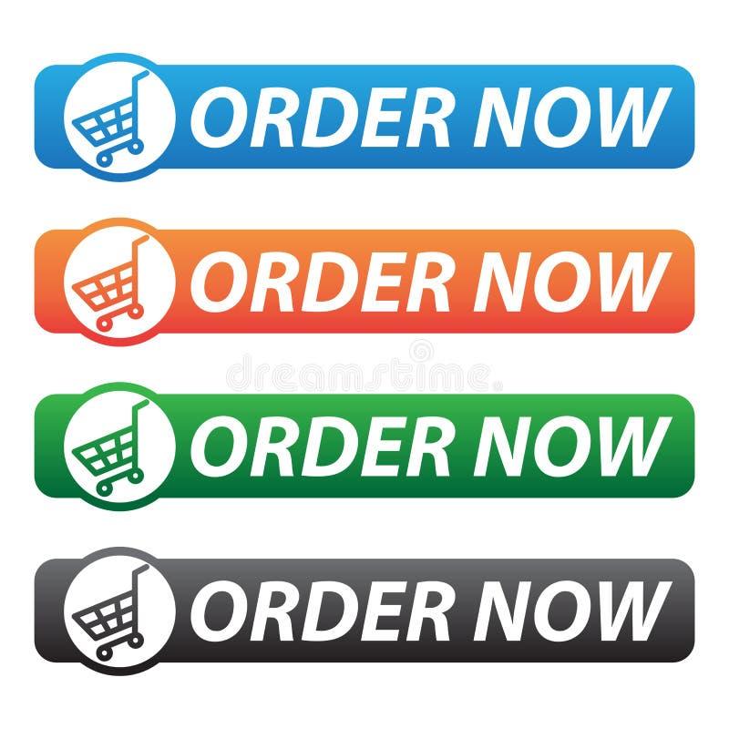 A ordem abotoa agora ícones - cores diferentes ilustração royalty free