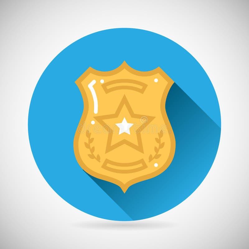 Ordem da lei da proteção do ícone do bage do agente da polícia ilustração royalty free