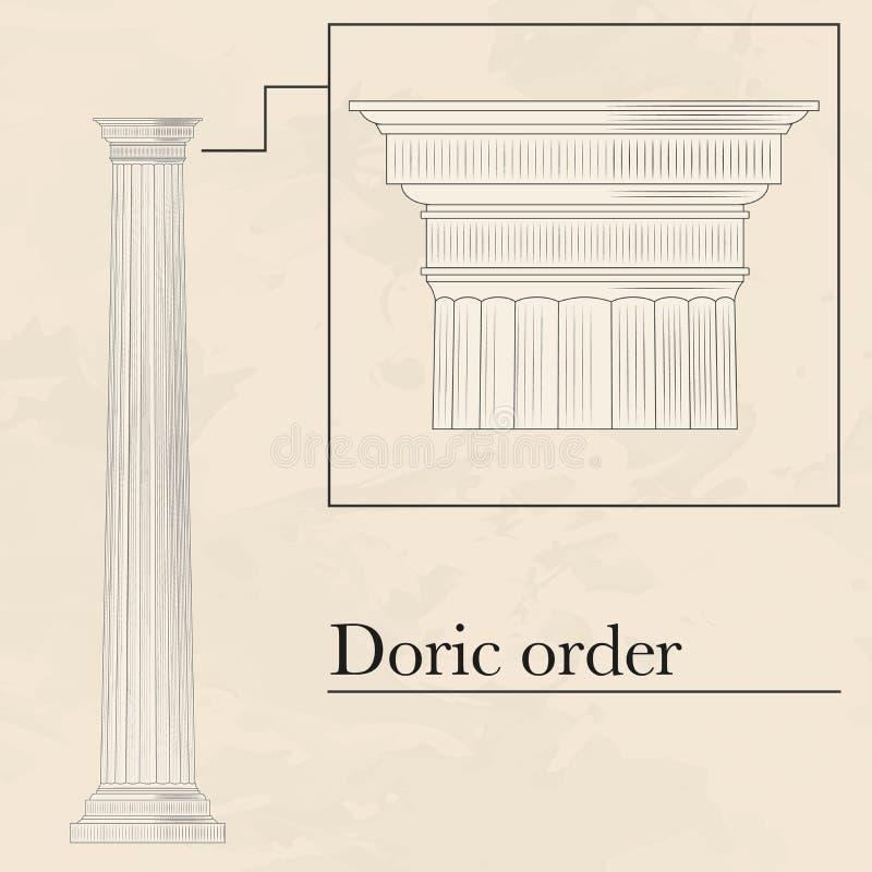 Ordem helênica dórico ilustração stock