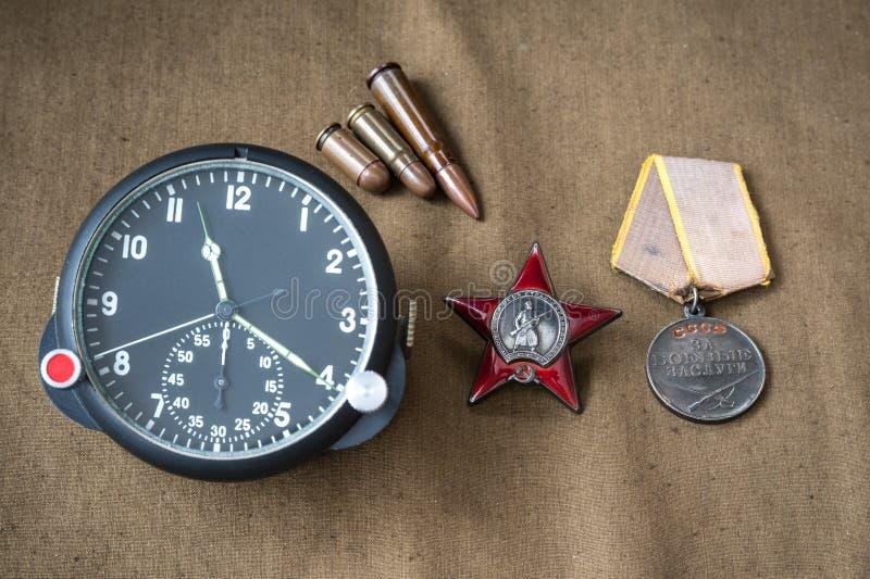 Ordem, medalha, munição viva, relógio a bordo da aviação fotos de stock royalty free