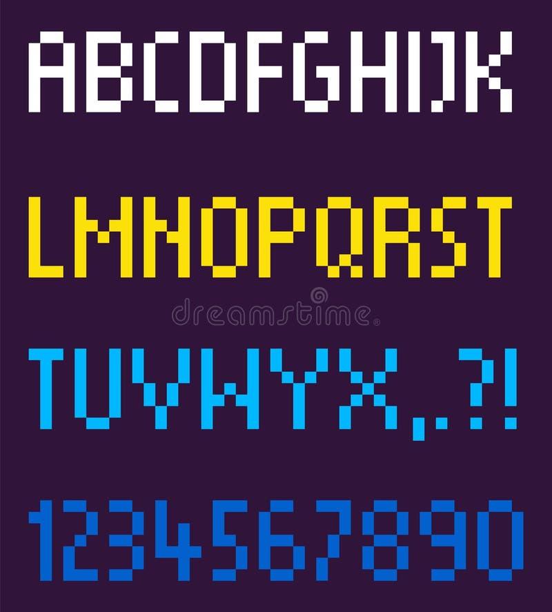 Orden alfabético de la fuente del pixel y vector de los números ilustración del vector