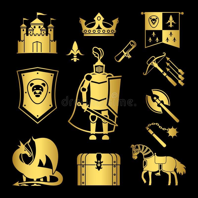 Orden de caballería en el ejemplo del vector de los iconos de las Edades Medias stock de ilustración
