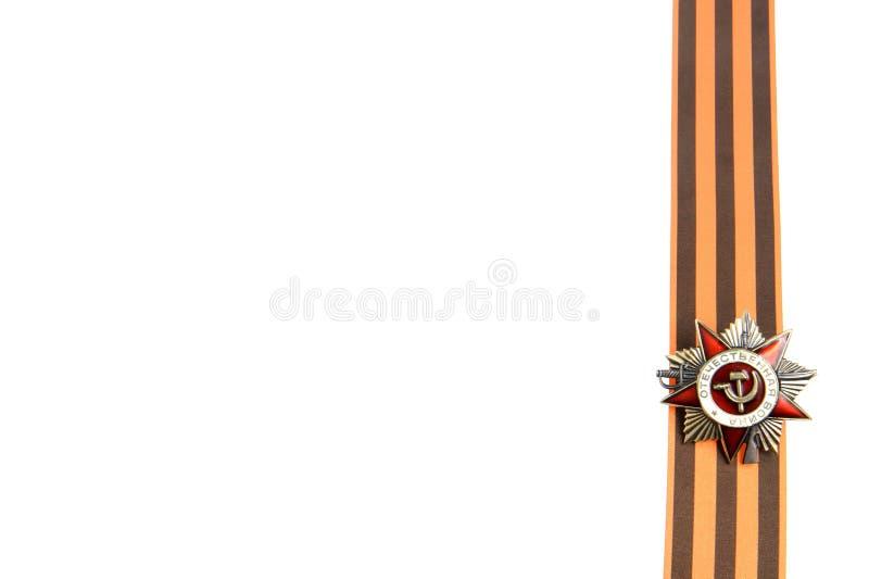 Orden de la gran guerra patriótica en la cinta de San Jorge como frontera vertical imágenes de archivo libres de regalías