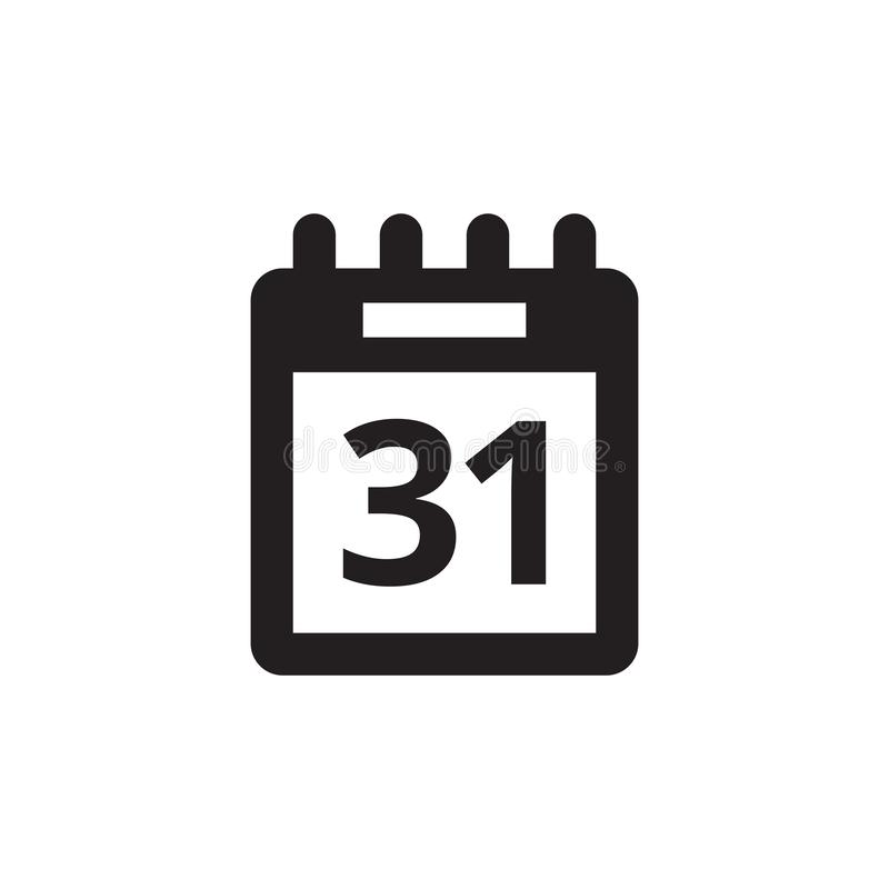 Orden del día del calendario - icono negro en el ejemplo blanco del vector del fondo para la página web, aplicación móvil, presen stock de ilustración