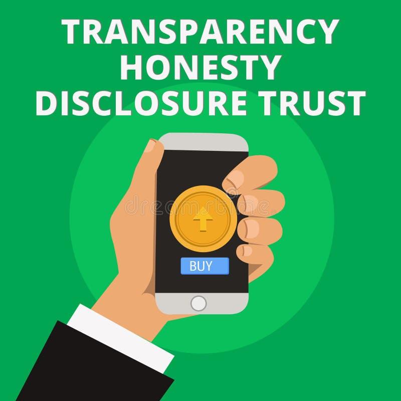 Orden del día político de la mano de la escritura de la demostración de la transparencia de la honradez del acceso de confianza d stock de ilustración