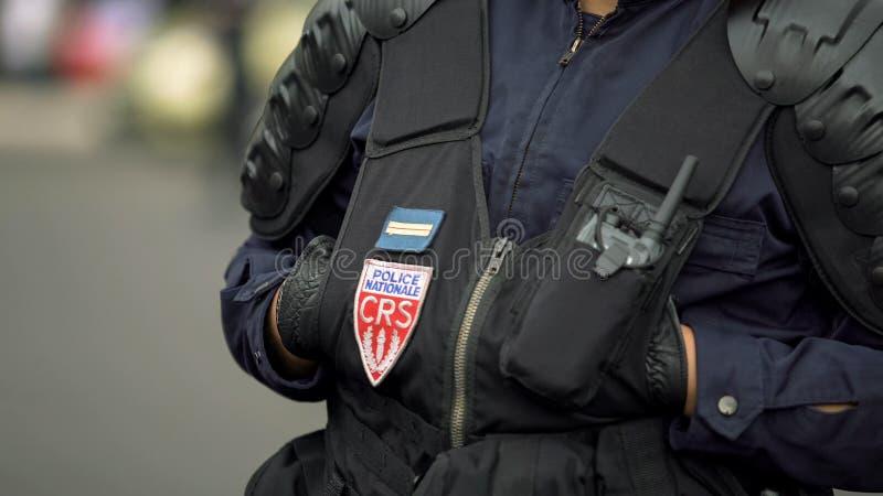 Orden público de la supervisión del policía de Francia, seguridad de protección en calles de la ciudad foto de archivo libre de regalías