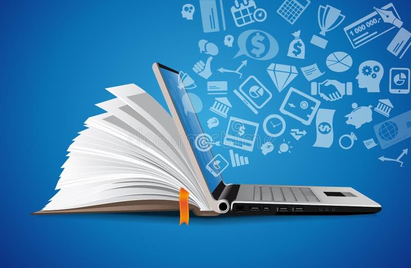 Ordenador como concepto de la base de conocimiento del libro - ordenador portátil como elearning ilustración del vector