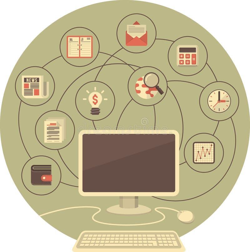 Ordenador como herramienta para el negocio ilustración del vector