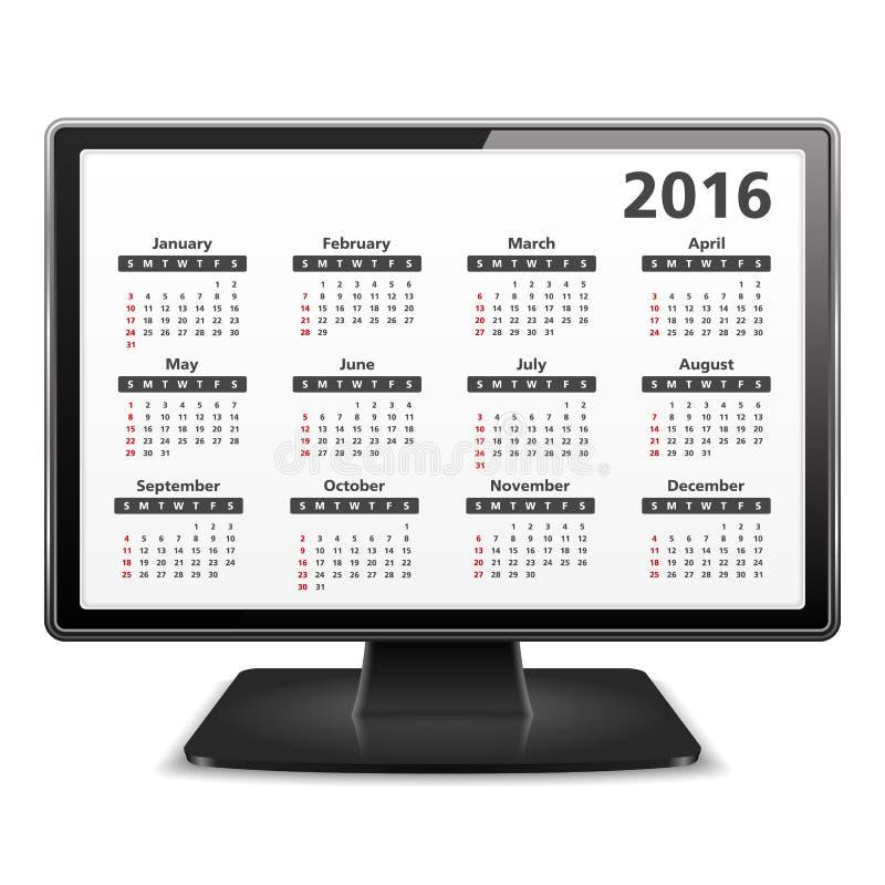 Ordenador con el calendario 2016 ilustración del vector