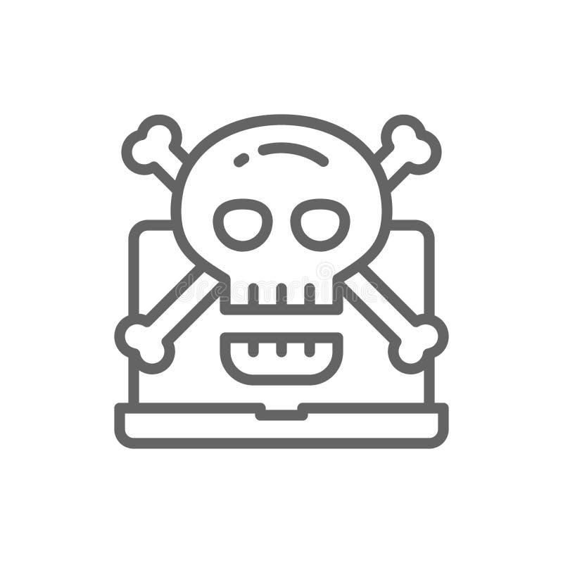 Ordenador con el cráneo y el símbolo de la bandera pirata, virus, timo del phishing, línea icono del ransomware stock de ilustración