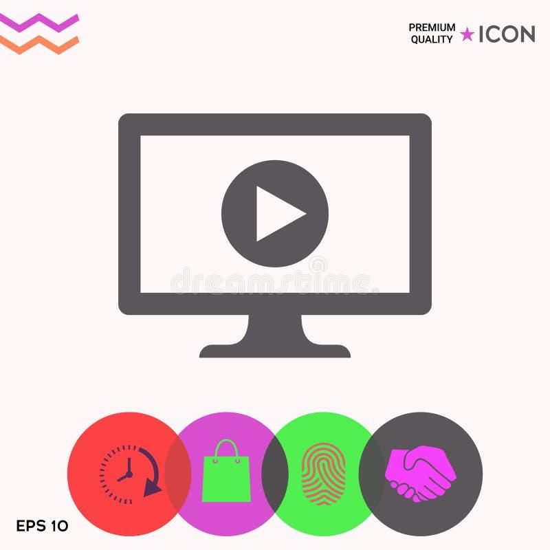 Ordenador con el icono del botón de reproducción libre illustration