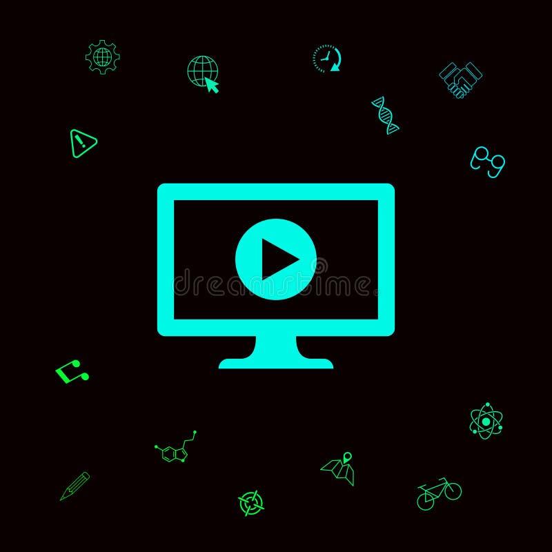 Ordenador con el icono del botón de reproducción ilustración del vector