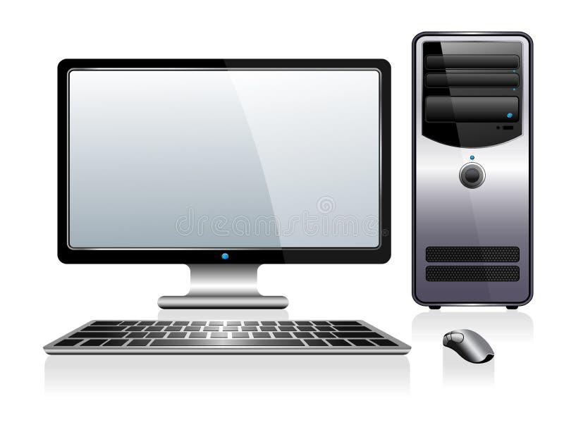 Ordenador con el teclado y el ratón del monitor stock de ilustración