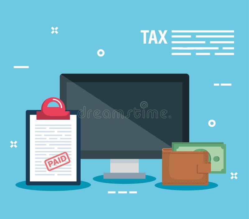 Ordenador con informe de la factura y cartera con el dinero stock de ilustración