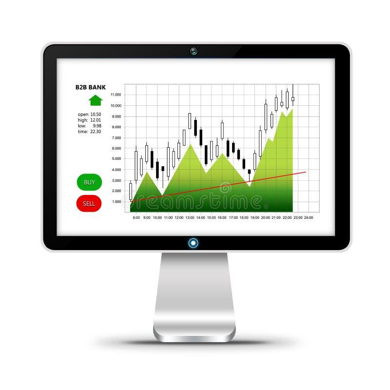 Download Ordenador Con La Carta Del Mercado De Acción Aislada Sobre Blanco Stock de ilustración - Ilustración de análisis, compra: 44850907