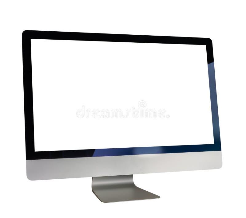Ordenador con la pantalla blanca fotografía de archivo libre de regalías