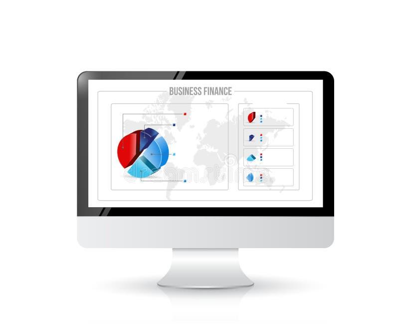 Ordenador con los gráficos de las finanzas del negocio en la pantalla. stock de ilustración