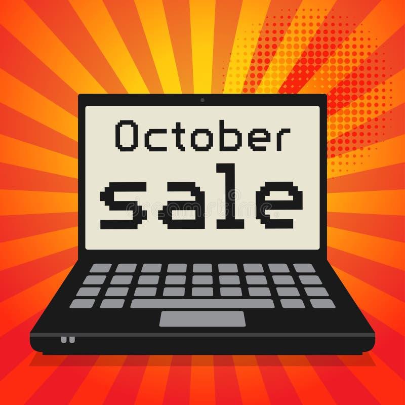 Ordenador, concepto del negocio con la venta de octubre del texto ilustración del vector