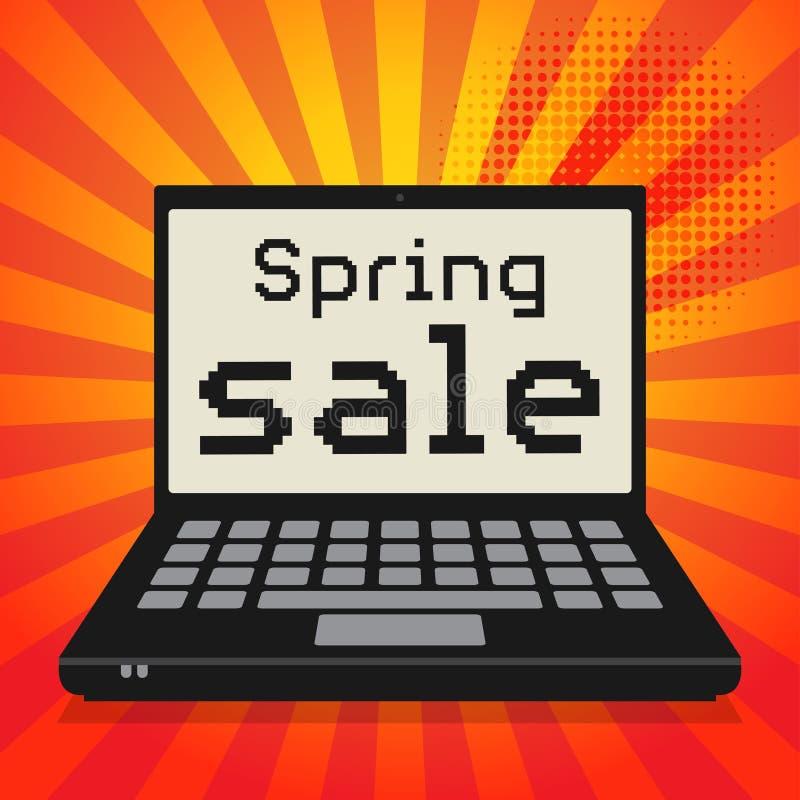 Ordenador, concepto del negocio con venta de la primavera del texto libre illustration