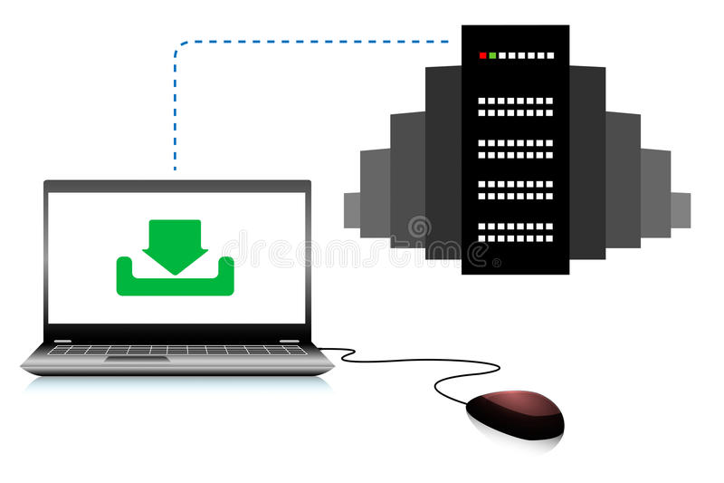 Ordenador conectado con el servidor ilustración del vector