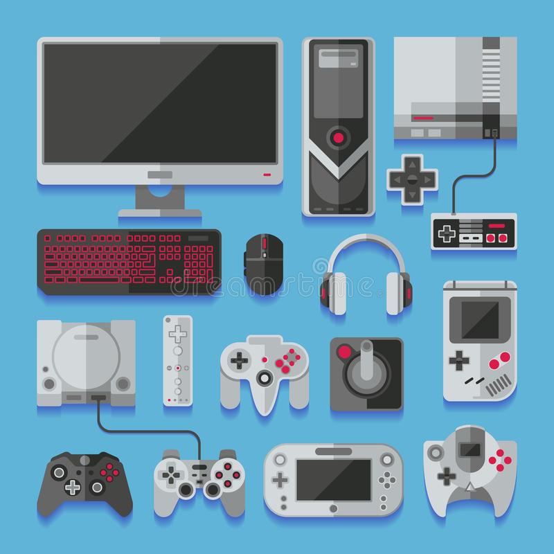 Ordenador, consola digital del juego online video, sistema del vector de las herramientas del juego ilustración del vector