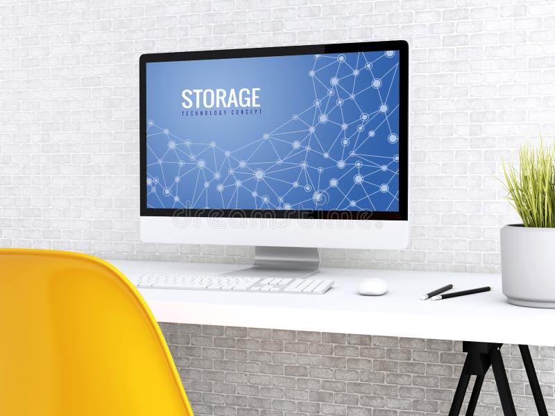 ordenador 3d con la palabra ALMACENAMIENTO ilustración del vector