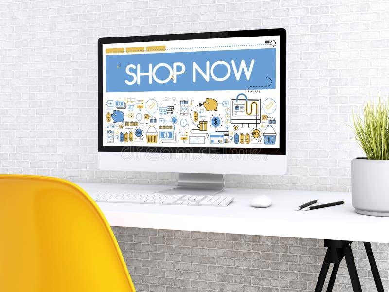 ordenador 3d con la palabra TIENDA AHORA stock de ilustración