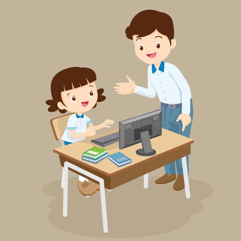 Ordenador de enseñanza del profesor a la muchacha del estudiante ilustración del vector