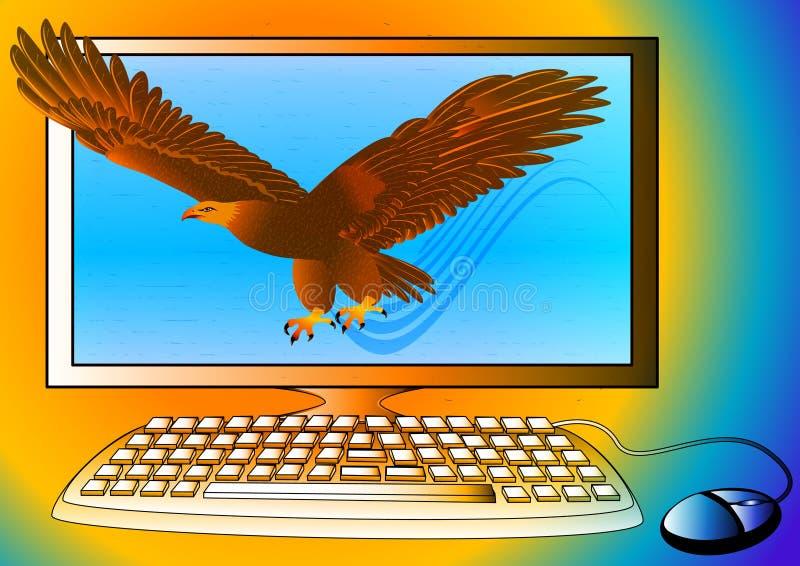 Ordenador de gran alcance como águila fuerte stock de ilustración