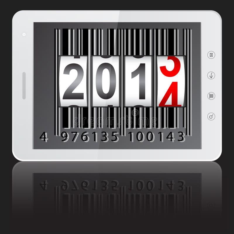 Ordenador de la PC de la tablilla con 2014 Años Nuevos ilustración del vector