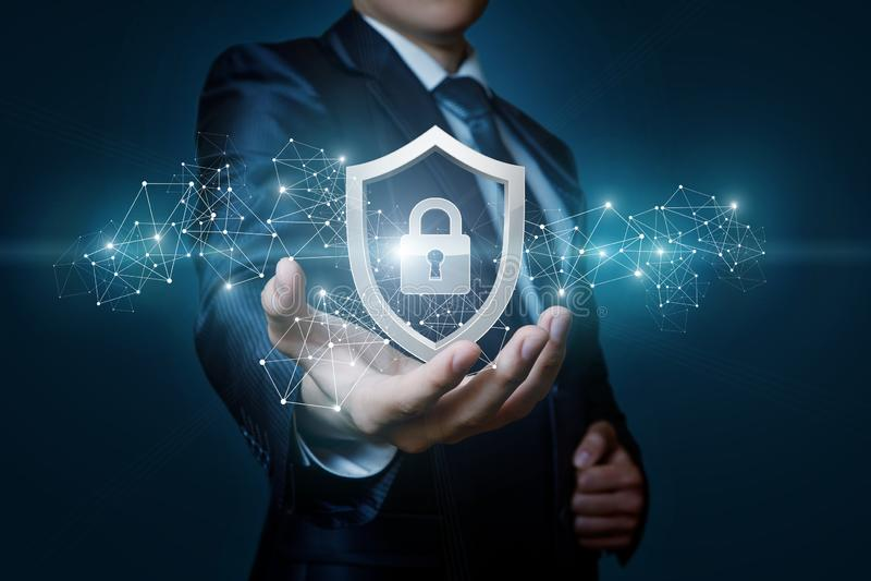 Ordenador de la seguridad de la red de la protección en las manos de un hombre de negocios ilustración del vector