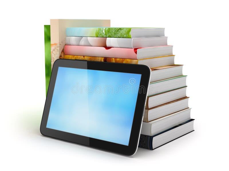 Ordenador de la tableta y pila de libros stock de ilustración