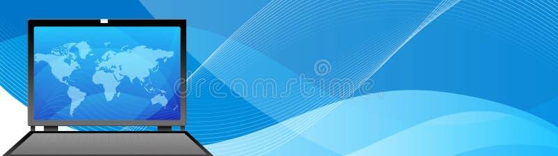 Ordenador de los multimedia de la cabecera del Web ilustración del vector